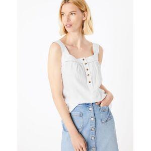 Marks & Spencer Caraco jersey 100% lin à encolure carrée - Blanc - 38