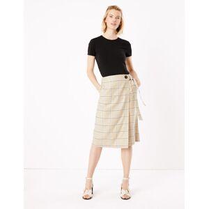 Marks & Spencer Jupe midi style portefeuille en lin à carreaux - Marron - 38