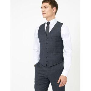 Marks & Spencer Gilet de costume en laine coupe cintrée à carreaux - Bleu - XL