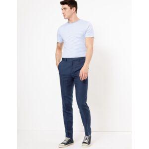 Marks & Spencer Pantalon slim fabriqué en tissu italien, doté de la technologie Linen Miracle™ - Bleu - 86cm
