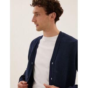 Marks & Spencer Gilet 100% laine d'agneau à col en V - Bleu - XXXL