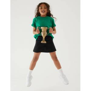 Marks & Spencer Jupe-short de sport en coton extensible pour fille - Noir - 11-12 ans