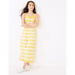 Marks & Spencer Combinaison en coton à motif teinté au noeud (du 6 au 16ans) - Jaune - 6-7 ans