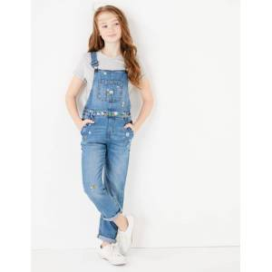Marks & Spencer Salopette en jean à broderies fleuries (du 6 au 16ans) - Bleu - 14-15 ans