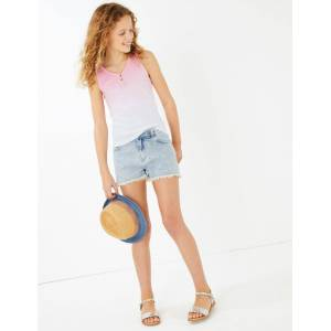 Marks & Spencer Short en jean à motif citron brodé (du 6 au 16ans) - Blanc - 6-7 ans