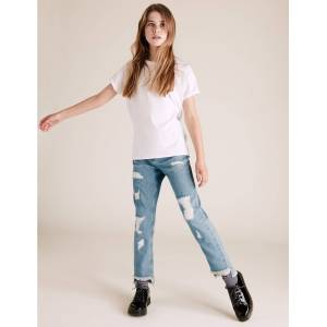 Marks & Spencer Jean 100% coton, aspect déchiré (du 3 au 16ans) - Bleu - 6-7 ans