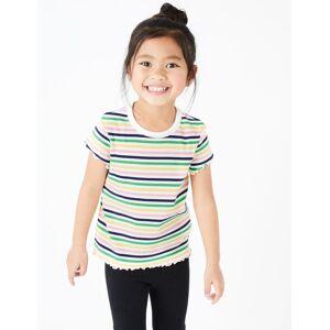 Marks & Spencer T-shirt à rayures côtelées multicolores (du 2 au 7ans) - Blanc - 5-6 ans
