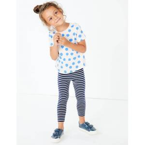 Marks & Spencer Leggings en coton à rayures (du 3mois au 7ans) - Bleu - 12-18 mois