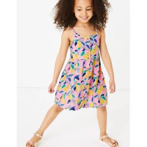 Marks & Spencer Robe boutonnée 100% coton à motif citron (du 2 au 7ans) - Rose - 6-7 ans