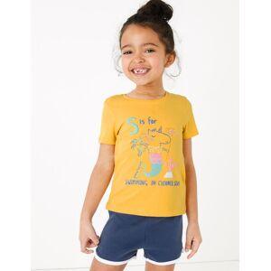 Marks & Spencer T-shirt en coton à motif sirène-licorne (du 2 au 7ans) - Jaune - 5-6 ans