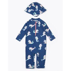 Marks & Spencer Ensemble 2pièces avec chapeau et maillot de bain à motif sirène-licorne (du 2 au 7ans) - Bleu - 6-7 ans
