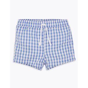 Marks & Spencer Short de bain à carreaux (jusqu'au 3ans) - Bleu - 6-9 mois