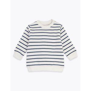 Marks & Spencer Sweat en coton à rayures (jusqu'au 3ans) - Blanc - 6-9 mois