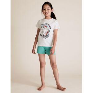 Marks & Spencer Lot de 2pyjamas en coton à motif licorne et étoiles (du 6 au 16ans) - Bleu, Violet - 6-7 ans