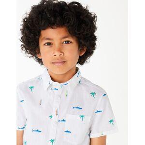 Marks & Spencer Chemise 100% coton à imprimé requin (du 6 au 16ans) - Blanc - 11-12 ans