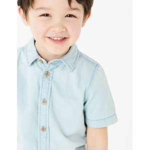 Marks & Spencer Chemise 100% coton (du 2 au 7ans) - Bleu - 2-3 ans