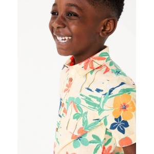 Marks & Spencer Chemise en coton à imprimé tropical (du 2 au 7ans) - Blanc - 5-6 ans