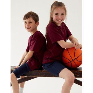 Marks & Spencer T-shirt unisexe 100% coton - Marron, Rouge - 6-7 ans