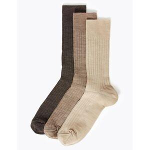 Marks & Spencer Lot de 3paires de chaussettes élégantes en laine d'agneau - Marron - 6-8½