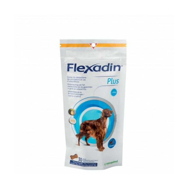 Vétoquinol Complément alimentaire Flexadin Plus Maxi articulations pour chien + 10 kg 30 bouchées
