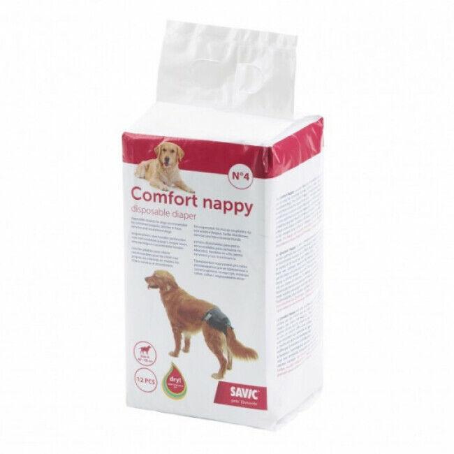 Savic Couche jetable noire pour incontinence Comfort Nappy Savic pour chien Taille 5 Paquet de 12 couches