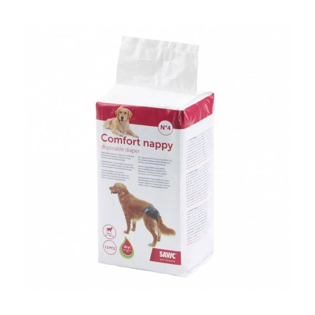 Savic Couche jetable noire pour incontinence Comfort Nappy Savic pour chien Taille 4 Paquet de 12 couches