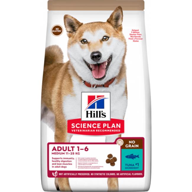 Hill's Croquettes No Grain sans céréales Hill's pour chien Adulte au Thon - Sac 14 kg