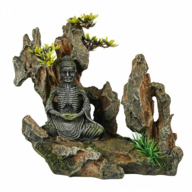 Aqua Della Décoration pour aquarium Bouddha sur rocher en résine Aqua Della