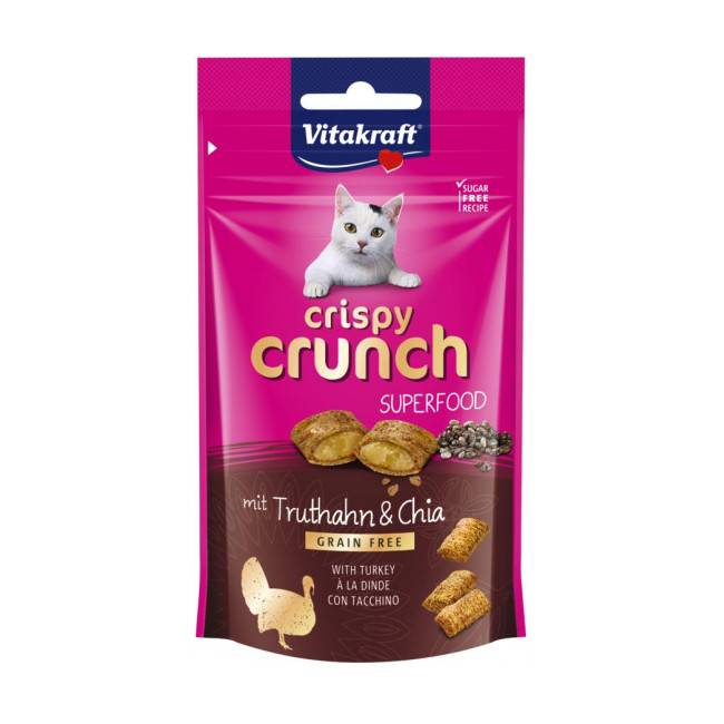 Vitakraft Friandises pour chat snack Crispy Crunch Superfood - Dinde et graines de chia 60 g