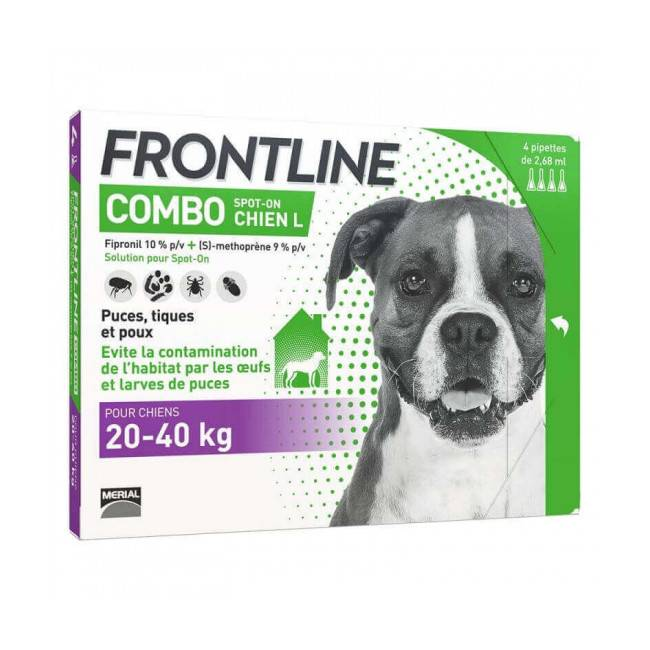 Frontline Combo Spot On soin antiparasitaire pour chiens 20/40 kg Boîte 6 Pipettes