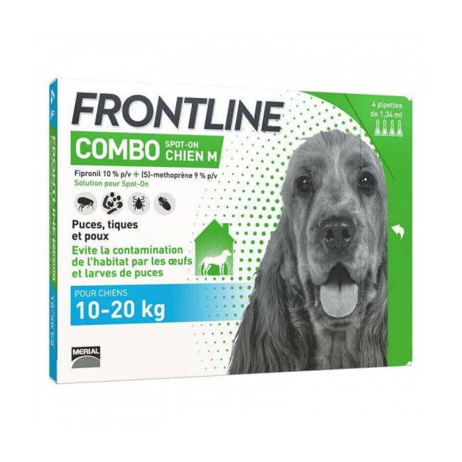 Frontline Combo Spot On soin antiparasitaire pour chiens 10/20 kg Boîte 6 Pipettes