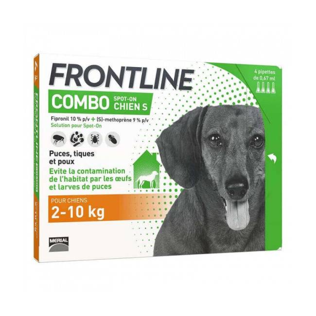Frontline Combo Spot On soin antiparasitaire pour chiens 2/10 kg Boîte 6 Pipettes