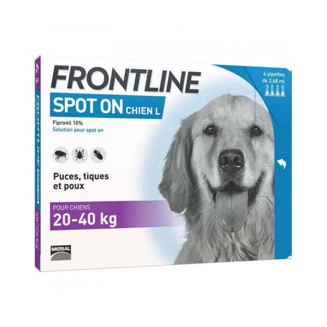 Frontline Spot On soin antiparasitaire pour chiens 20/40 kg  Boîte 4 Pipettes