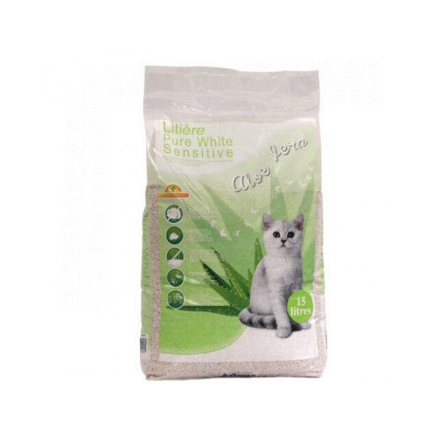 EBI Litière minérale Pure White Sensitive pour chat Sac 15 litres Aloé Vera
