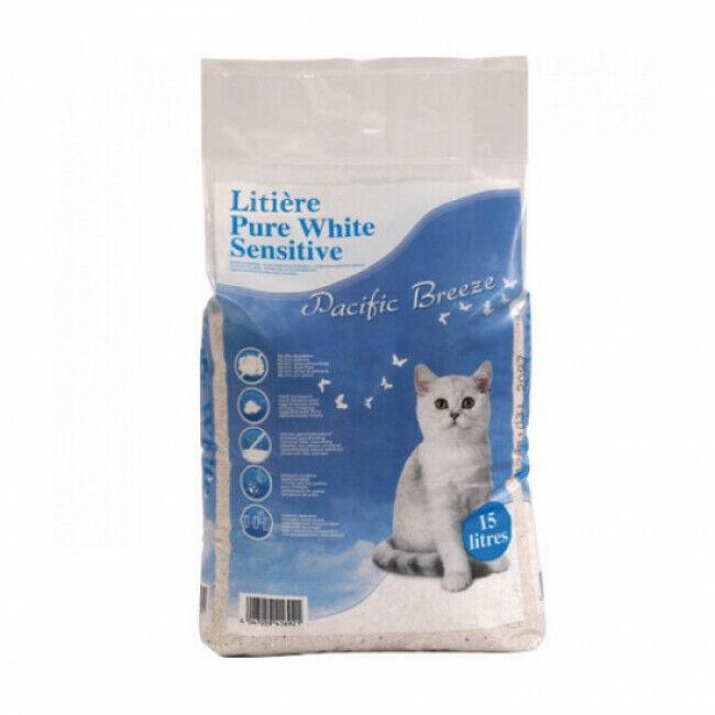 EBI Litière minérale Pure White Sensitive pour chat Sac 15 litres Pacific breeze