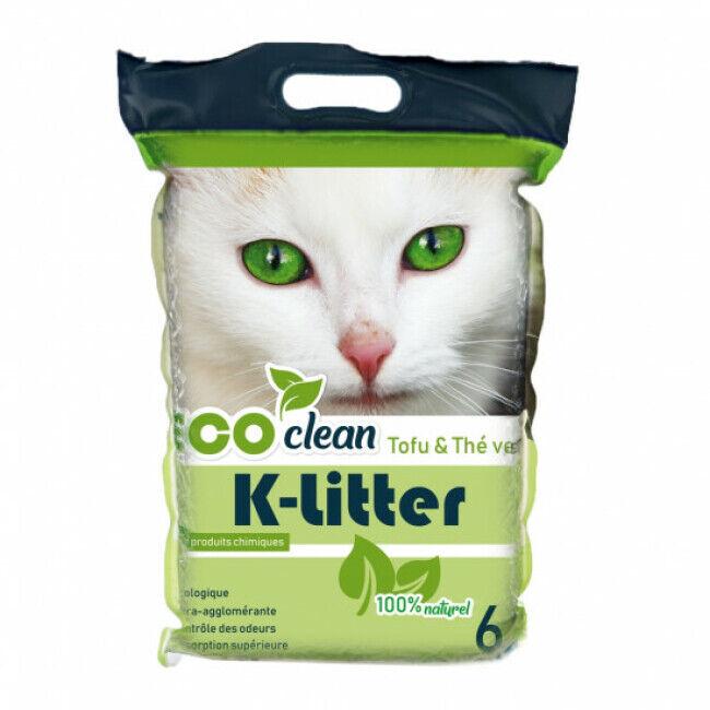 K-Litter Litière végétale au tofu K-litter Sac 6 litres Parfum Thé vert