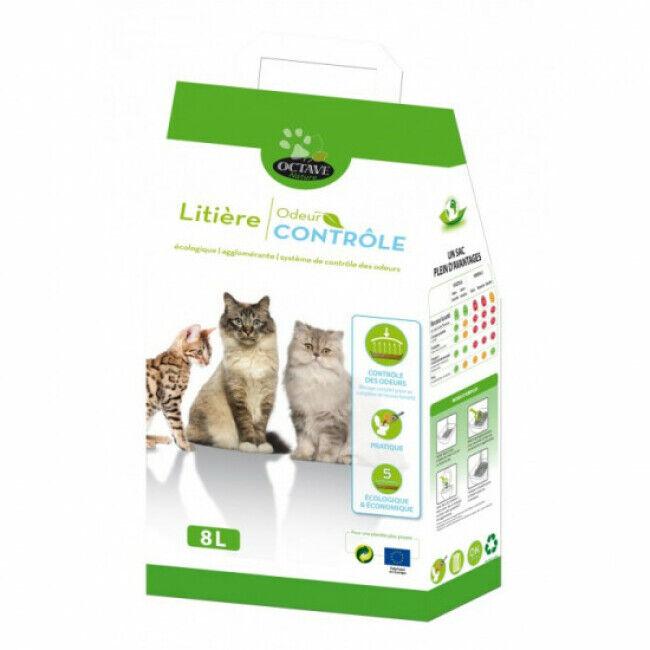 Naturlys Litière écologique agglomérante Octave pour chats Sac 8 litres