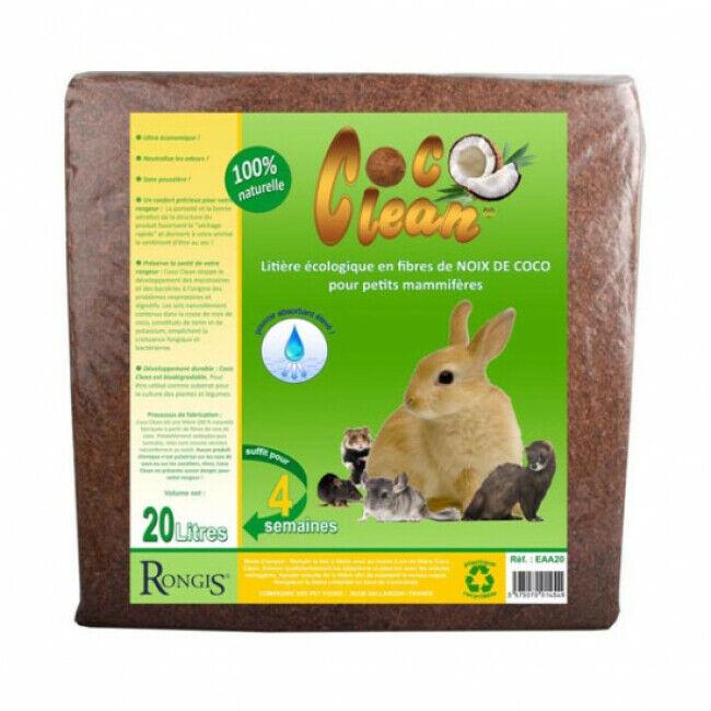 Rongis Litière écologique en fibres de noix de coco pour petits mammifères Coco Clean 20 litres