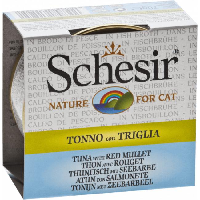 Schesir Pâtée pour chat Schesir avec bouillon - Boîte 70 g Thon avec rouget