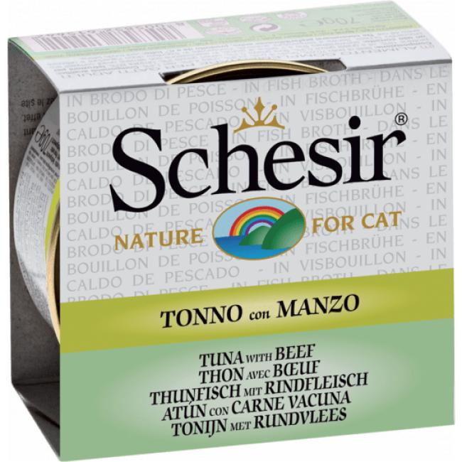 Schesir Pâtée pour chat Schesir avec bouillon - Boîte 70 g Thon avec bœuf