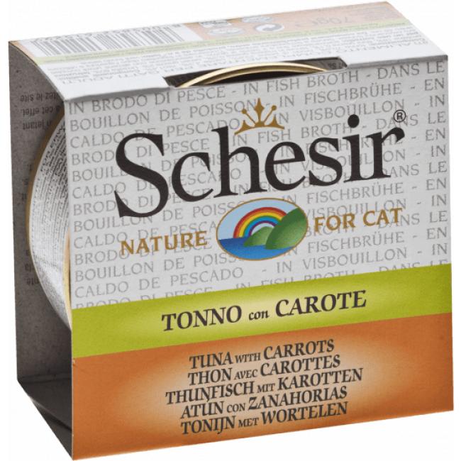 Schesir Pâtée pour chat Schesir avec bouillon - Boîte 70 g Thon avec carottes