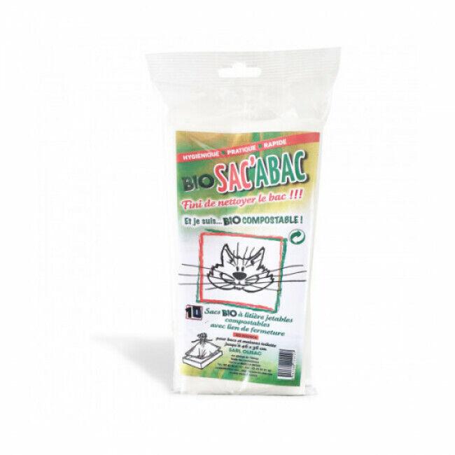 Olisac Sacs à litières avec lien de fermeture jetables compostables Bio Sac'Abac - Lot de 10
