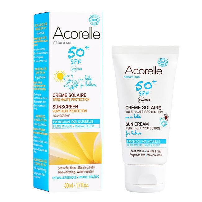 Acorelle Crème solaire bio SPF50+ pour Bébé - Très haute protection - Tube 50ml