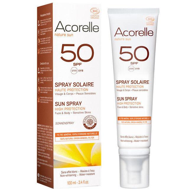 Acorelle Spray solaire bio SPF50 Haute protection - 100ml