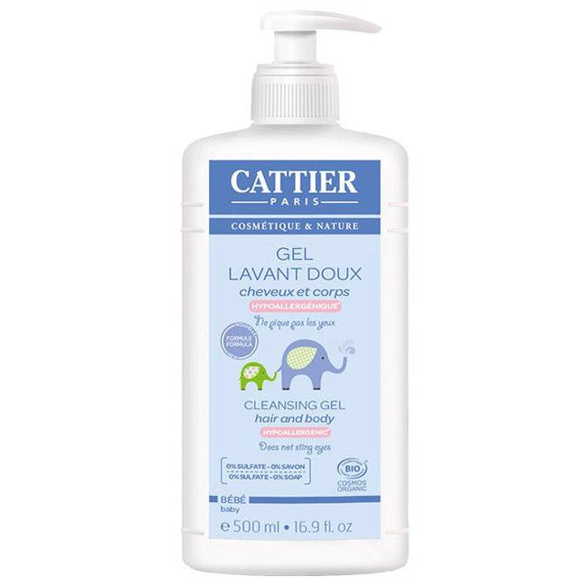 Cattier Gel lavant doux bébé bio Corps et cheveux 500ml
