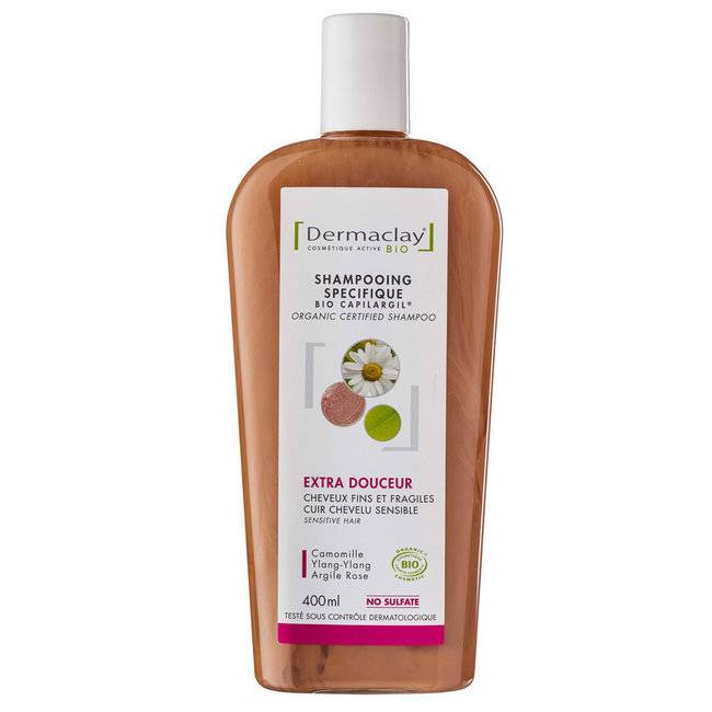 Dermaclay Shampoing Bio Capilargil Cheveux fragiles Argile rose 400ml