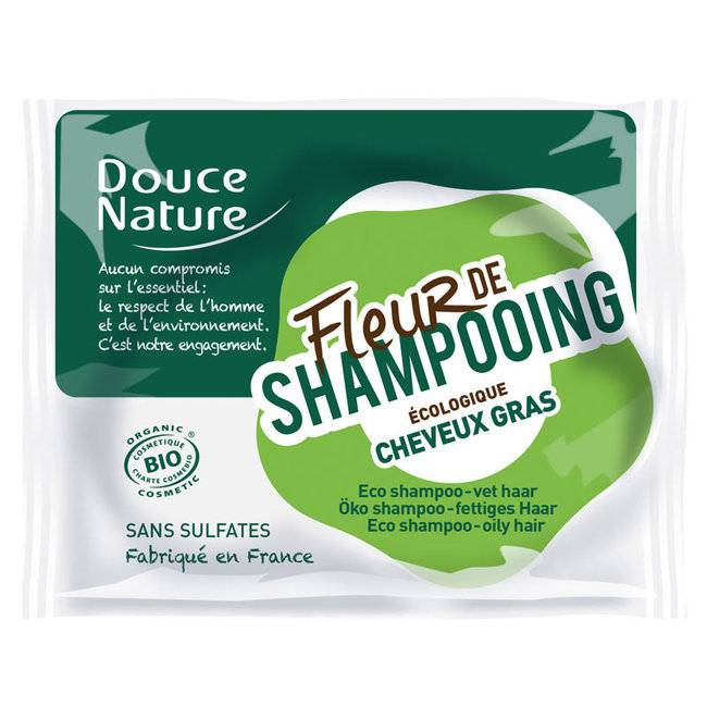 Douce Nature Fleur de shampoing Cheveux gras - Shampoing solide bio 85g