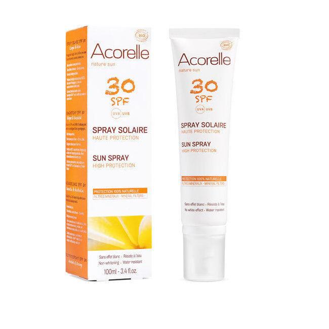 Acorelle Spray solaire bio SPF30 Haute protection - Visage et corps - 100ml