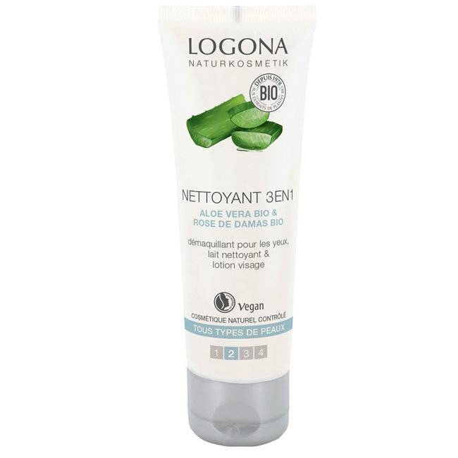 Logona Nettoyant 3 en 1 bio Visage Aloe vera - Tous types de peaux 100ml