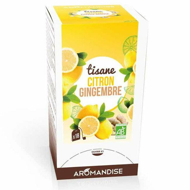 Aromandise Tisane Bio Gingembre Citron 20 sachets